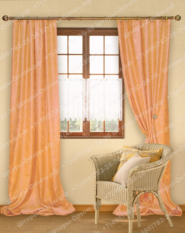 персиковые шторы для кухни фото